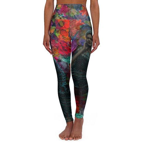 Frida and flowers design by OREWILER - High Waisted Yoga Leggings