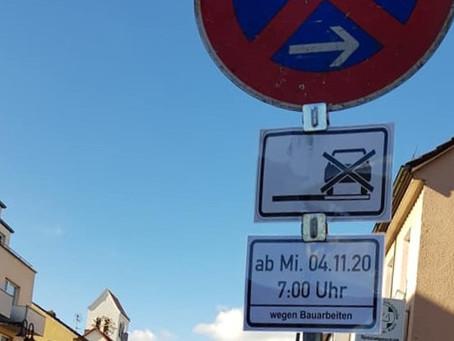 Parkplatz-Situation wegen Bauarbeiten