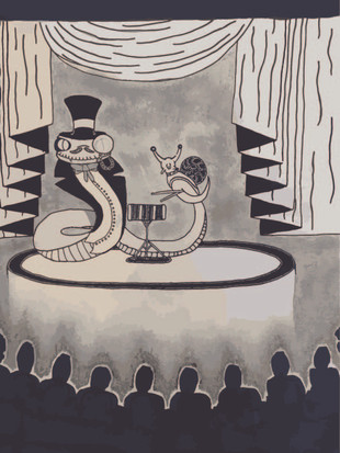 Snappy Dressed Snake with a Snail Playing a Snare Drum