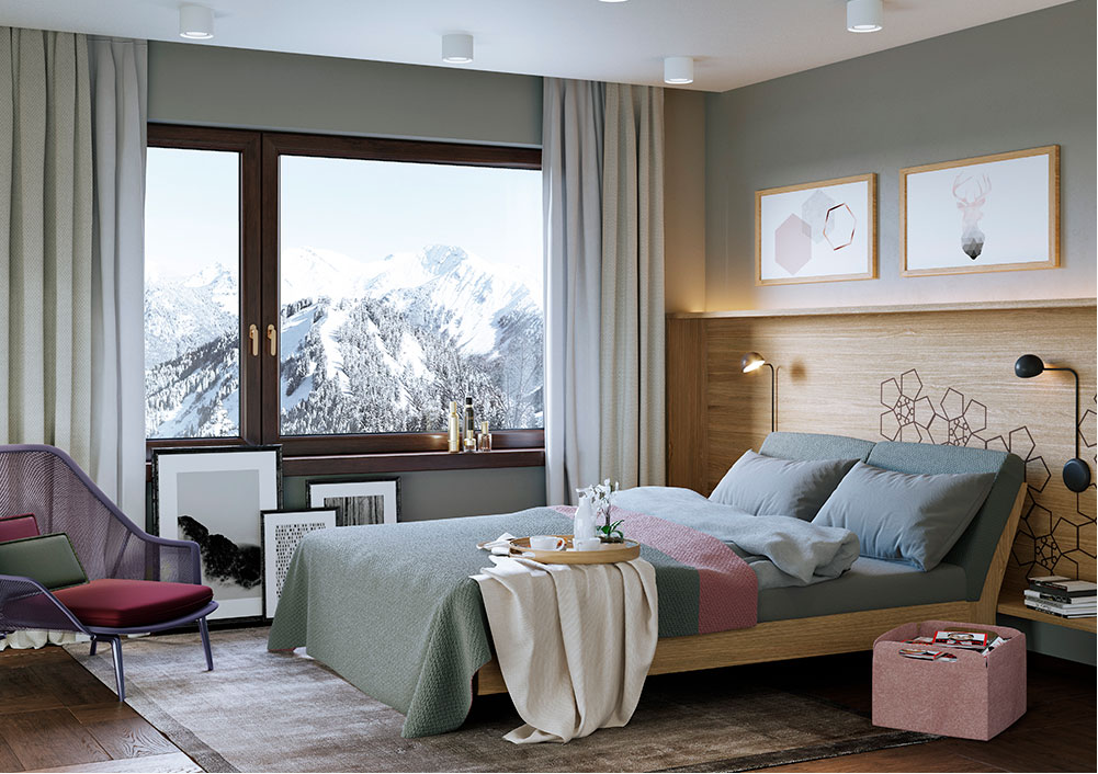 Swiss Alps Alpenrose Appartment Schlafzimmer
