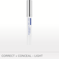 CORRECT + CONCEAL – LIGHT NET WT./POIDS NET 2.5 G / 0.09 OZ. Spot corrector and concealer erases the visible signs of skin imperfections while gently exfoliating pore-clogging dead skin cells and dirt. BENEFITS Soft focus concealer provides an instant, natural, long-lasting matte coverage Maximum strength acne medication treats & prevents acne on the surface of the skin and within the pore Added tea tree oil helps keep skin clean