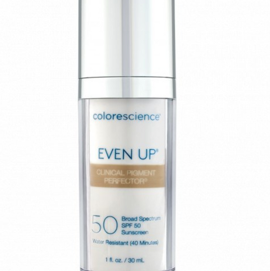 EVEN UP® CLINICAL PIGMENT PERFECTOR® SPF 50 Brighten, correct and protect your skin with Colorescience® Even Up® Clinical Pigment Perfector® Sunscreen. Lightly tinted and clinically tested to diminish the appearance of discoloration and immediately blur stubborn brown spots, while protecting against future sun damage with SPF 50.  Broad Spectrum SPF 50 Sunscreen Water resistant (40 minutes) 1 fl. oz. / 30 ml 90-day supply based on typical use