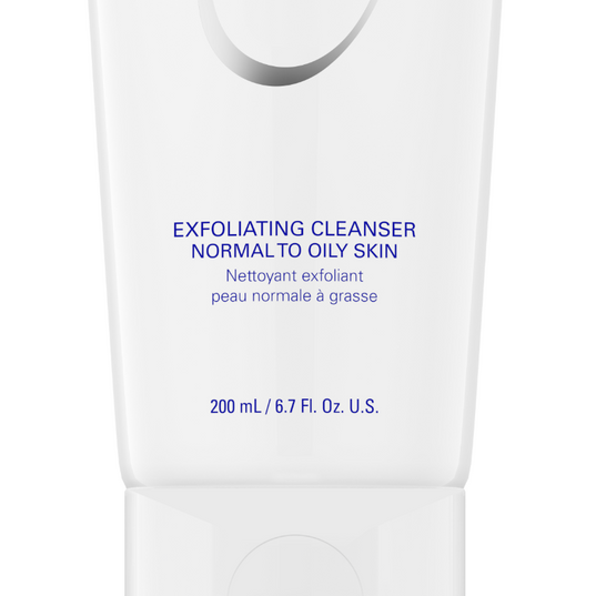 EXFOLIATING CLEANSER 200 ML / 6.7 FL. OZ. U.S.  Gentle exfoliating cleanser for normal to oily skin that targets surface oil leaving the skin feeling clean, but not stripped and dry.  BENEFITS:   *Rids the skin of dirt and surface oil *Unclogs pores with exfoliation *Calms and soothes irritated skin  ADVANCED INFORMATION:   *Jojoba Esters: Exfoliates dead skin cells *Encapsulated vitamin E: Antioxidant