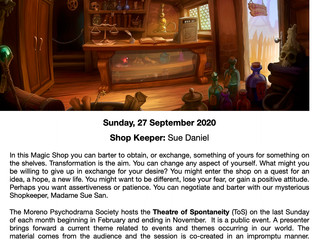 The Electronic Theatre of Spontaneity - Sunday September 27th 2020