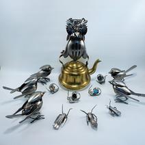 metal art Owl on a Teapot