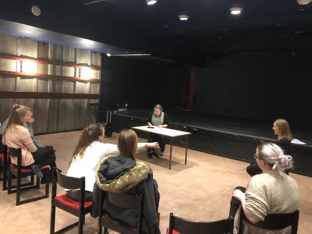 Elin Hilläng Teaching an Acting Workshop (Meisner Technique) at Norrlands Nation, Sweden