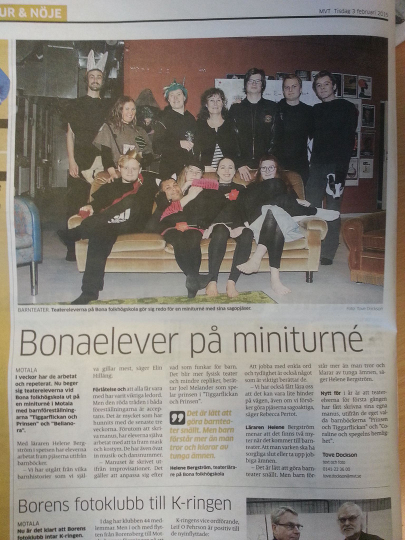 "Article about ""Bellanora"" (play), Sweden"
