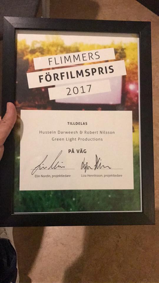 """""""På väg"""" (kort) Vann ett pris vid Flimmer Film Festival, Sverige 2017."""