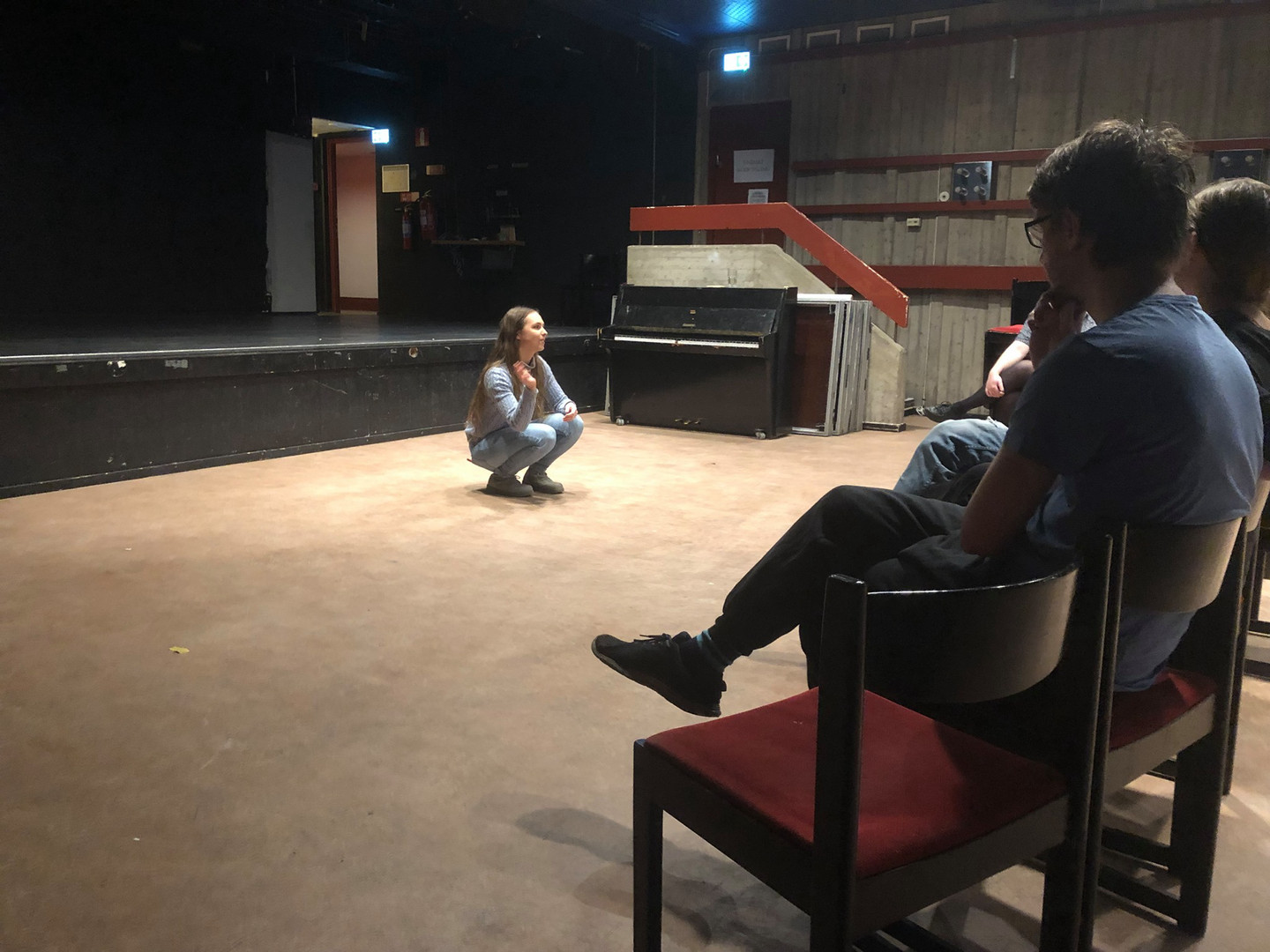 Elin Hilläng Teaching an Acting Workshop (Meisner Technique) at Norrlands Nation, Sweden