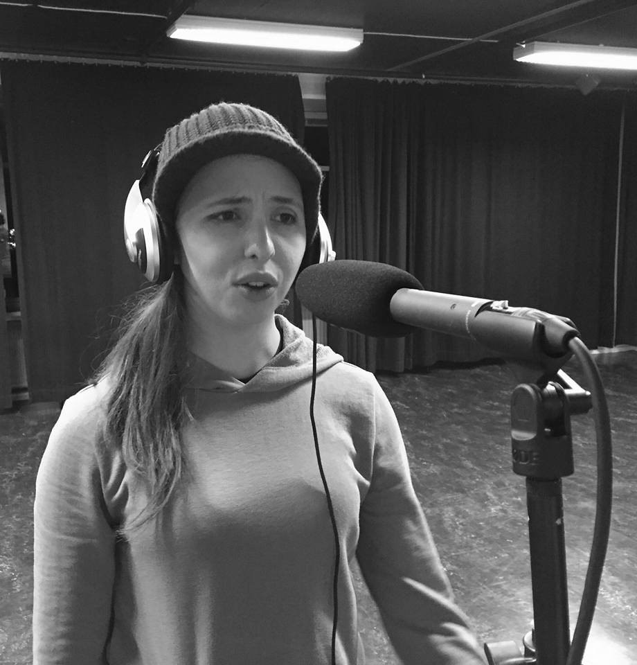 "Elin Hilläng Recording a Voice Over for ""På väg"" (""On my Way"") (short)"
