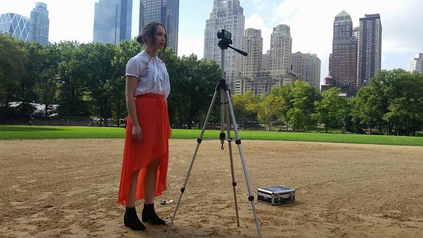 Elin Hilläng Filming in Central Park