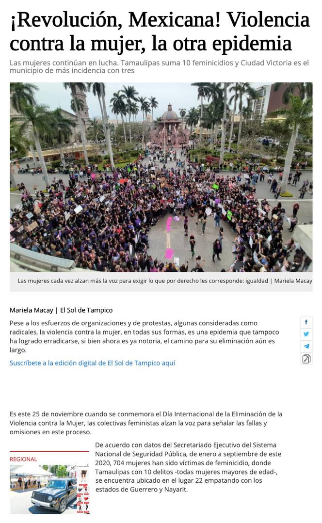 ¡Revolución, Mexicana! Violencia contra la mujer, la otra epidemia