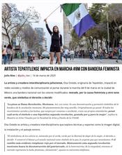 Artista tepatitlense impacta en marcha #8M con bandera feminista