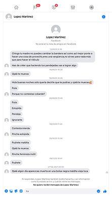 Captura de pantalla de mensajes amenazadores