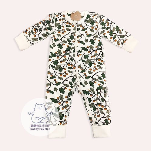 有機棉松果圖案嬰兒拉鏈連體衣 GOTS Organic Cotton Acorn Print Baby Bodysuit with Zip