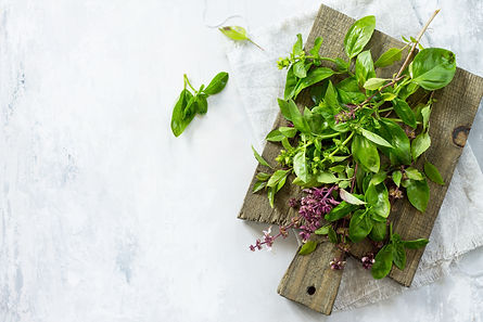 Mix the greens. Green and purple basil o