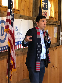 Andrew Yang with the Hollis Democrats