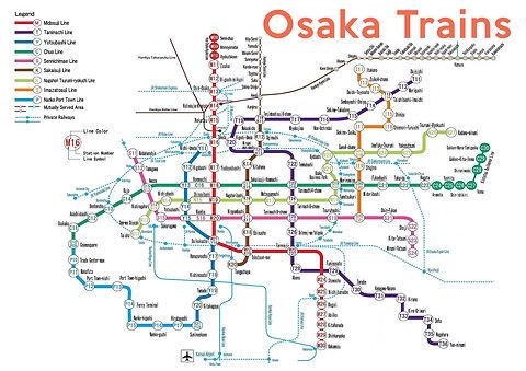 Map, Osaka, train, subway, tourist, advice