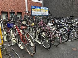 rent a bike osaka rental cycle bicycle Japan Japanese parking pay rack Namba Dotonbori