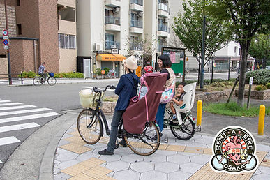 Japanese Japan rent a bike osaka rental cycle bicycle route guide tourist local mamachari safety road rules kids mama mothers commute local