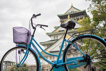 rent a bike osaka rental bicycle in front of Osaka Castle