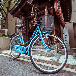 Rent a bike Osaka rental bicycle mamachari in front of shrine