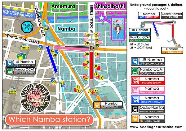 Namba station map, namba, osaka, tourist, guide, map