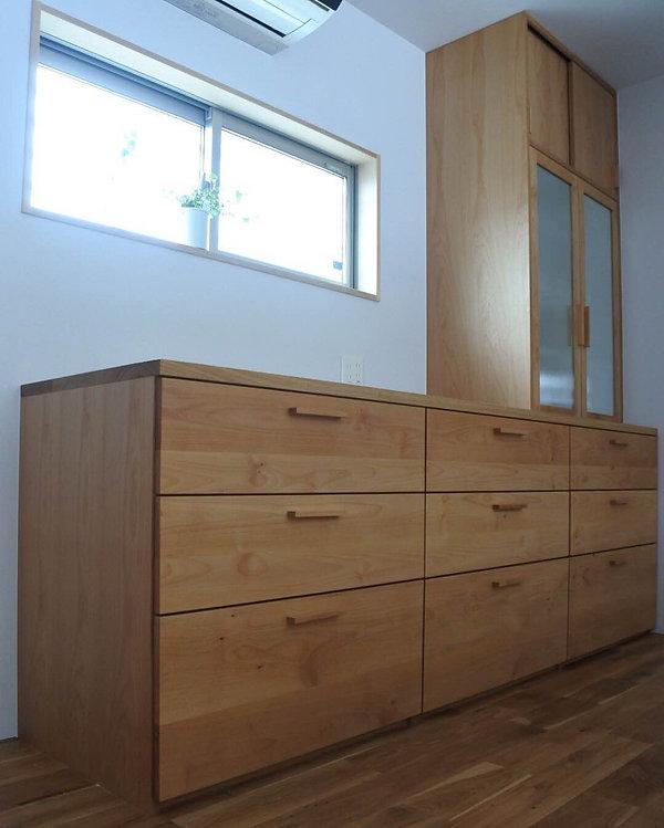 栗秋木工、オーダー家具、カップボード、キッチン、食器棚、佐賀、家具