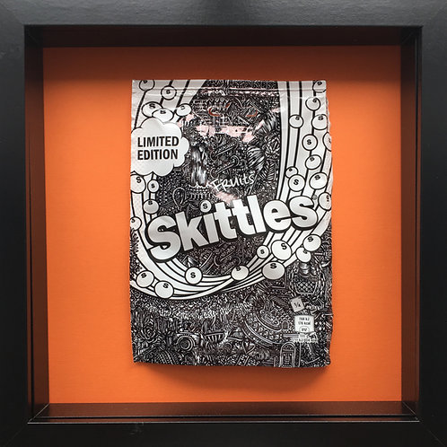 'No added sugar' Orange-Original Illustrated skittles packet 1/1 (2017)