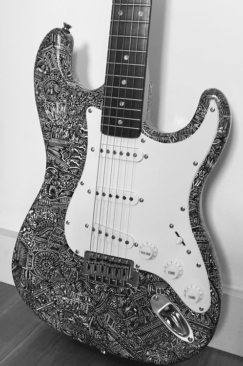 Work of Guit-art (2016) | Illustrated Electric Guitar | Fender Stratocastor