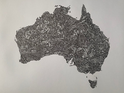 'The land down under' (2020) freehand Illustration