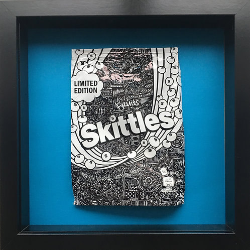 'No added sugar' Blue-Original Illustrated skittles packet 1/1