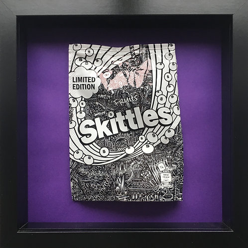 'No added sugar' Purple-Original Illustrated skittles packet 1/1