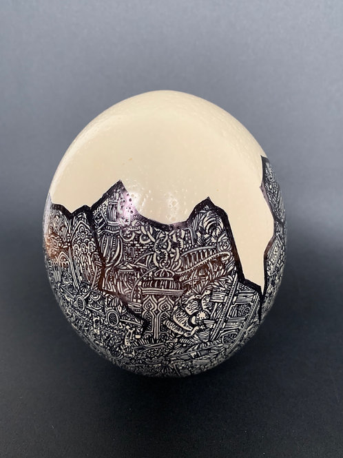 'Rags to Ostriches' 2019 Original freehand illustrated Ostrich egg