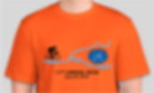 2019 T-shirt, orange with blue bicycle chain rivers and cyclist