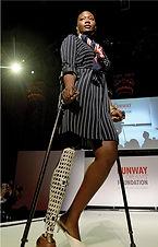 Female model on crutches