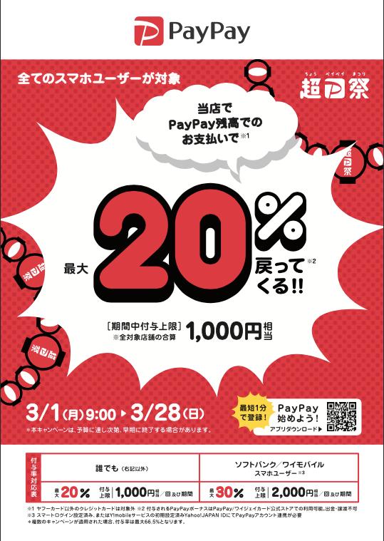 当院は「超PayPay祭 最大1,000円相当 20%戻ってくるキャンペーン」の対象店舗です。