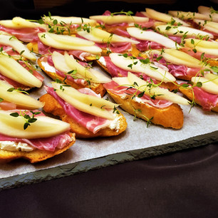 Pear and Proscuitto Crostinis