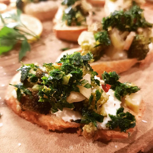 Charred Broccoli and Whipped Ricotta Crostini