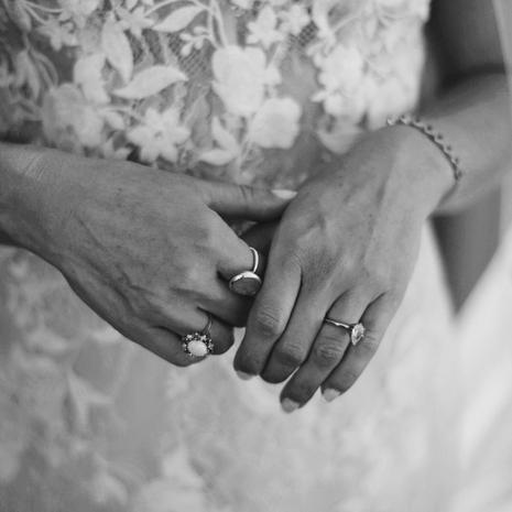 portrait of brides' hands with rings and bracelet