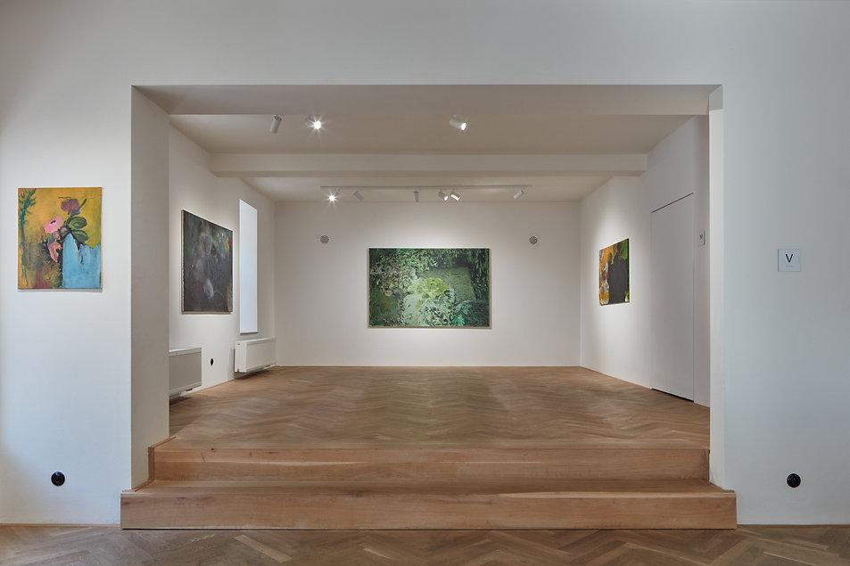 Pohled na vystavni prostor galerie GaP pri vystave umelce Alese Ruzicky