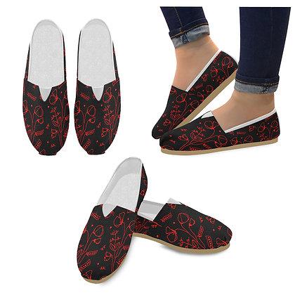Shoes Women's Slip On Canvas - #sweetpealust (black/red)