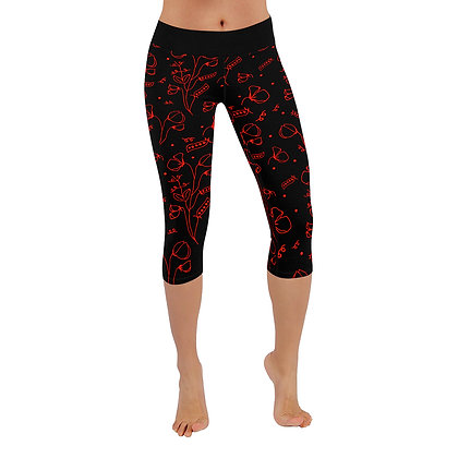 Leggings 3/4 - #sweetpealust (black & red)