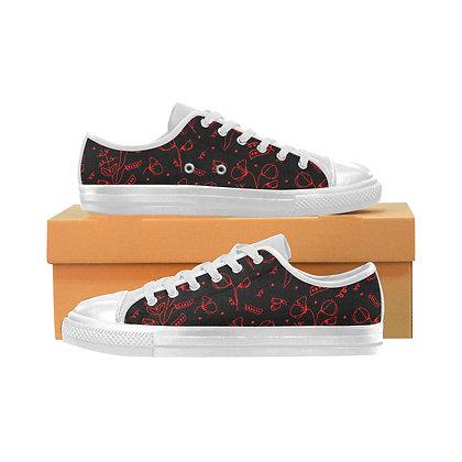 Women's Canvas Sneakers - #sweetpealust (black/red)