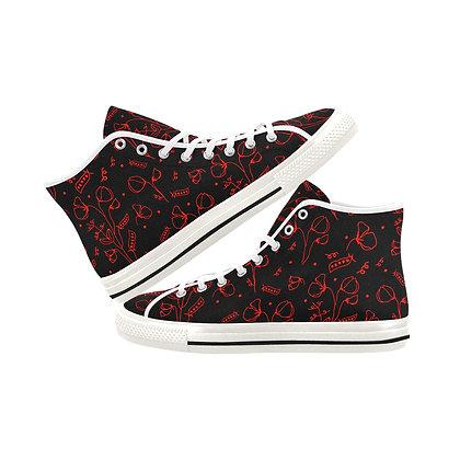 Women's High Top Canvas Sneakers - #sweetpealust (black/red)