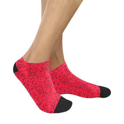 Socks Women's Ankle - #sweetpealust (red/black)