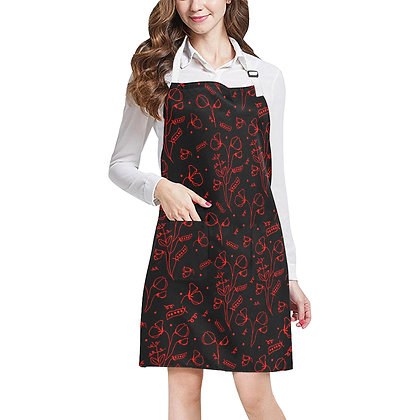 Adjustable Apron - #sweetpealust (black/red pattern)