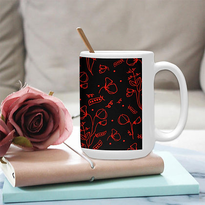 Ceramic Mug (15 OZ) (Made In AUS) - #sweetpealust (black/red)