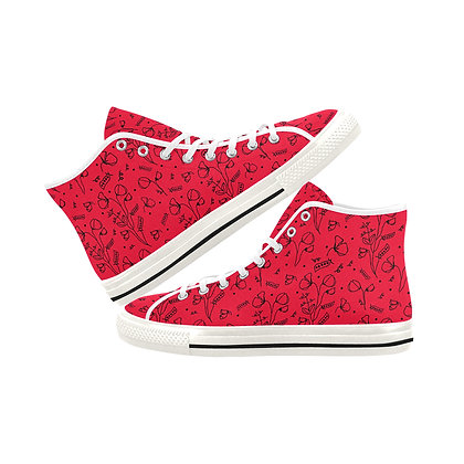Women's High Top Canvas Sneakers - #sweetpealust (red/black)
