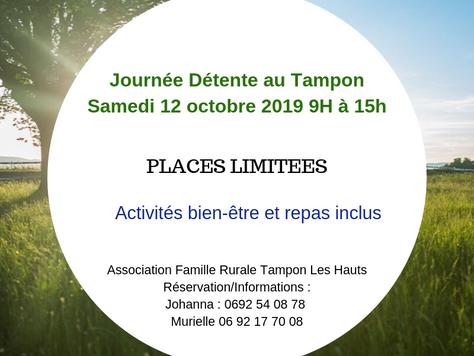 Journée Détente avec repas inclus, samedi 12 Octobre 2019 de 9 h à 15h